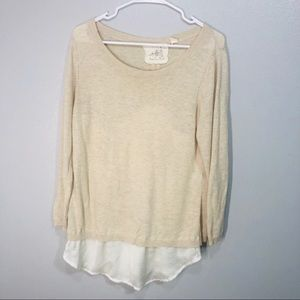 Angel of the north anthropologie cream sweater